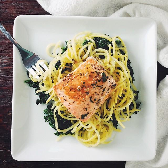 Salmon With Rutabaga Noodles & Shallot Herb Sauce