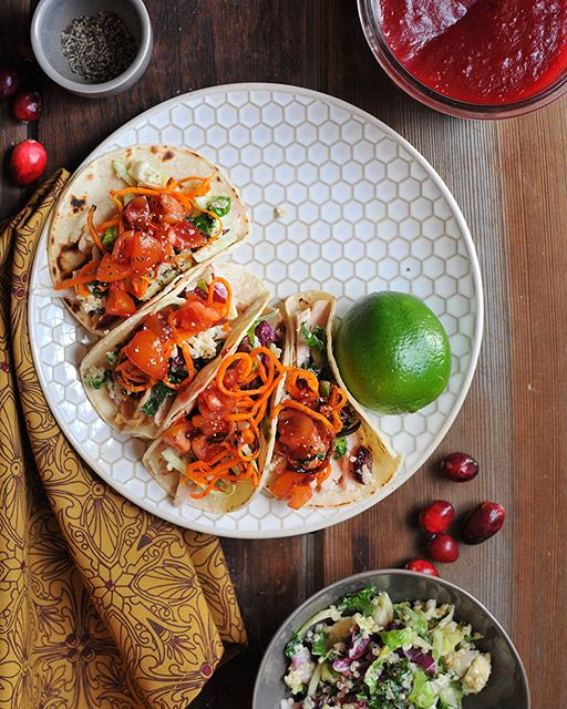 Leftover Turkey Tacos With Spicy Cranberry Salsa