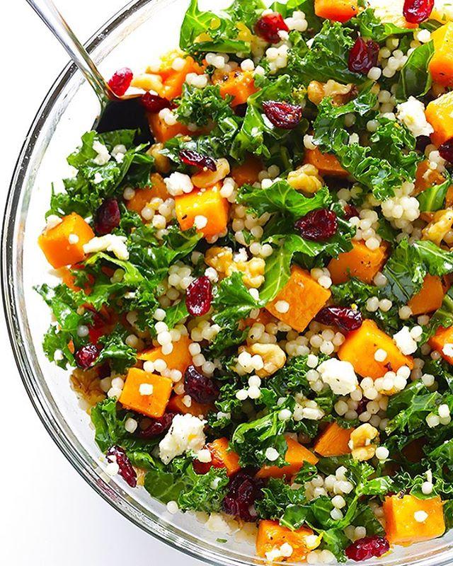 butternut squash kale amp cranberry couscous salad