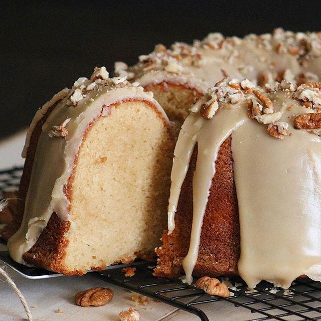Brown Sugar Pound Cake W/ Pecan Caramel Rum Glaze • Cyn ...