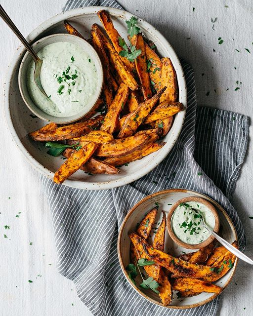 Roasted Sweet Potato Oven Fries With Herbed Yogurt And Tahini Dipping Sauce