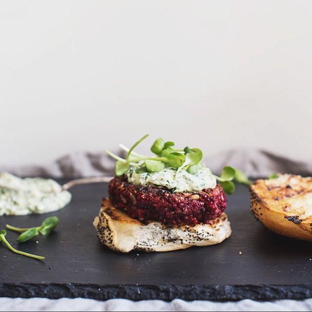 Beet + Farro Patties With Chimichurri & Greek Yogurt On Pita Bread