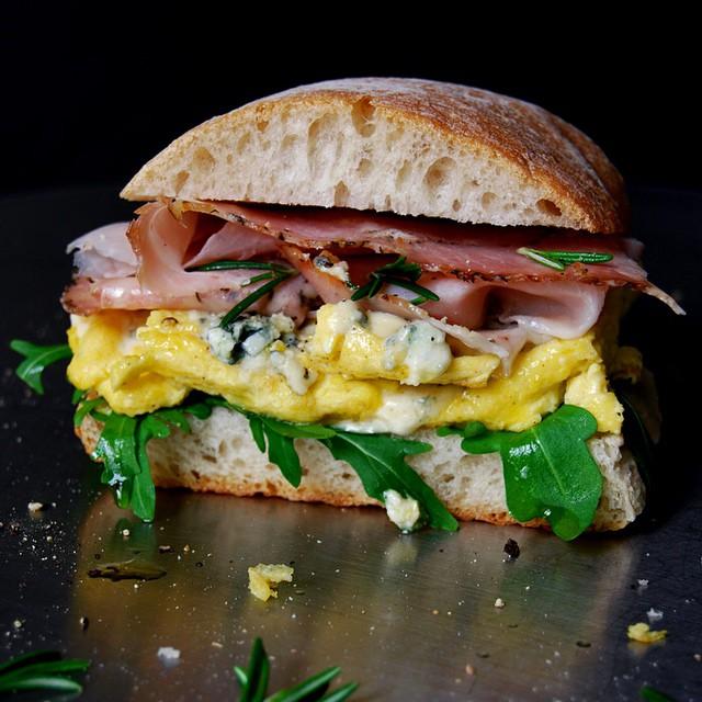Blue Cheese Omelette And Rosemary Prosciutto Ciabatta Sandwich