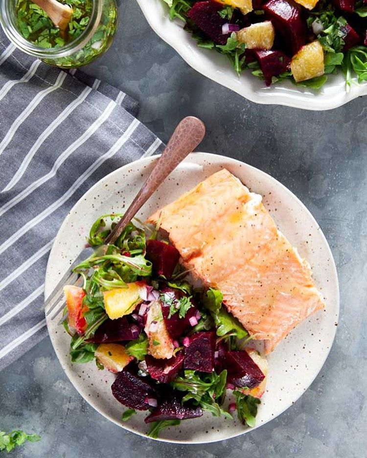 Roast beet and citrus salad with cilantro-lime dressing is great served in the side of baked salmon!…