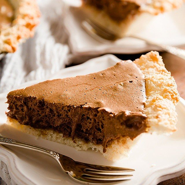 Chocolate Mousse Pie With A Coconut Macaroon Crust