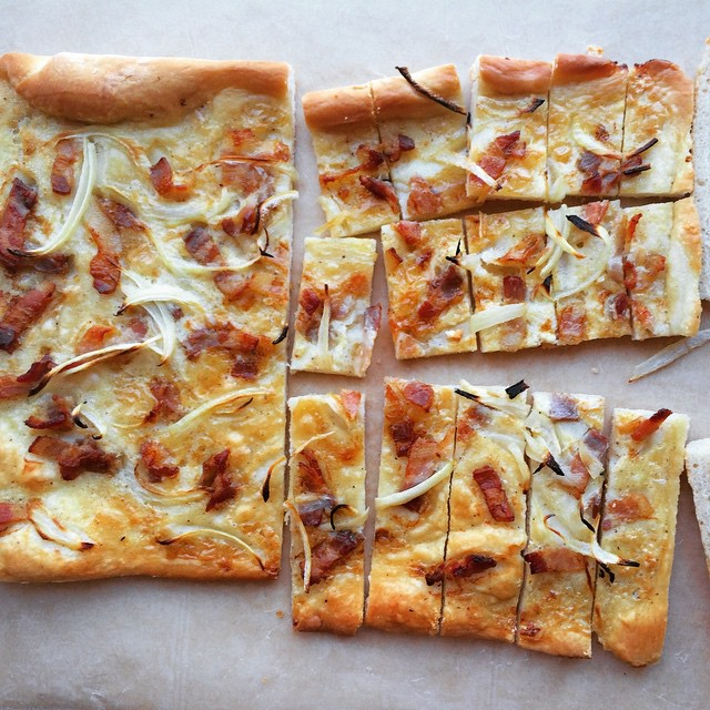 Alsatian Tarte Flambee With Bacon, Onions & Fromage Blanc