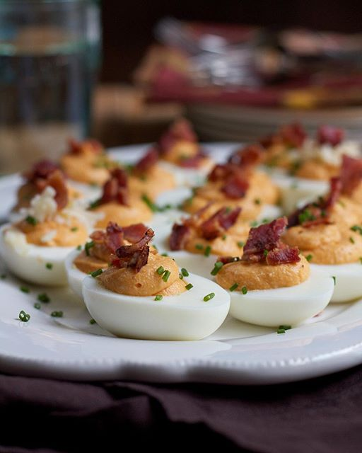 Sweet Potato Deviled Eggs With Crispy Bacon