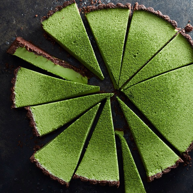 Matcha Coconut Custard Tart In A Chocolate Crust
