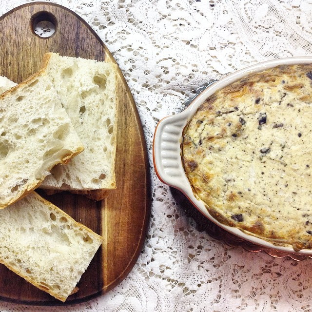 Baked Ricotta And Manchego With Kalamata Olives And Herbs
