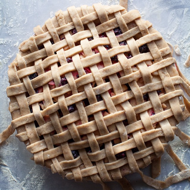 Caramel Apple Blackberry Pie With Hazelnut Lattice Crust