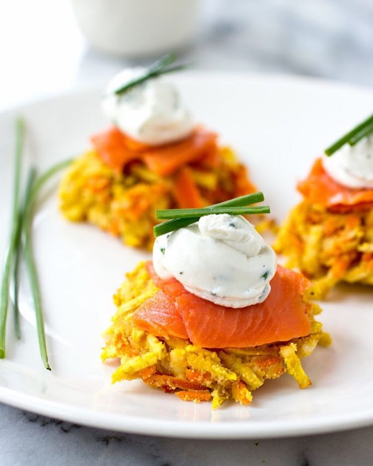 Sweet Potato And Carrot Latkes With Whipped Goat Cheese And Smoked Salmon