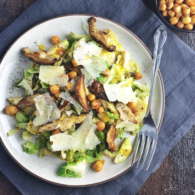 Brussels Sprouts Caesar Salad With Chickpeas & Toasted Shiitake Mushrooms