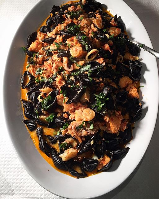 Squid Ink Seashells With Fish And Seafood