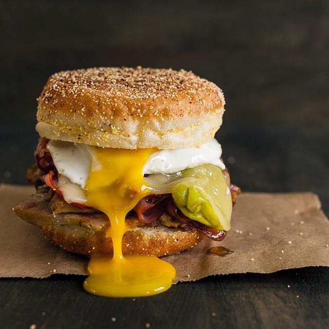 Cubano Breakfast Sandwich With Roast Pork, Smoked Ham, Pickled Pepperonici & Swiss Cheese