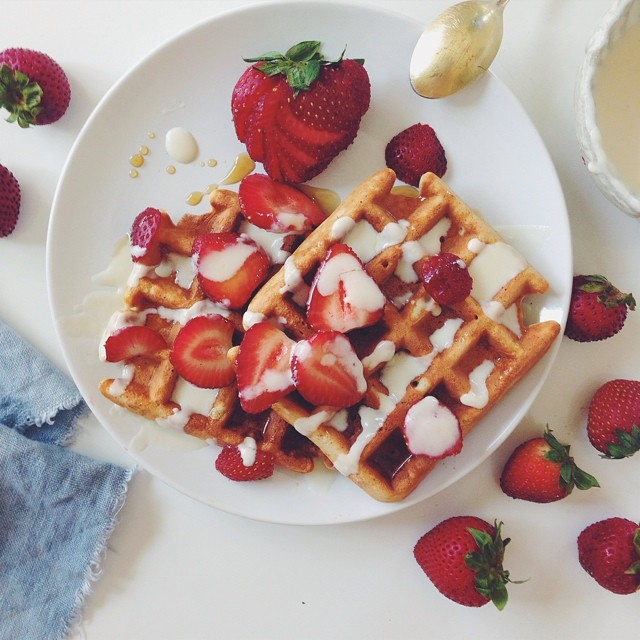 oh hey, sunday :: coconut waffles with lemon maple whipped chèvre & strawberries