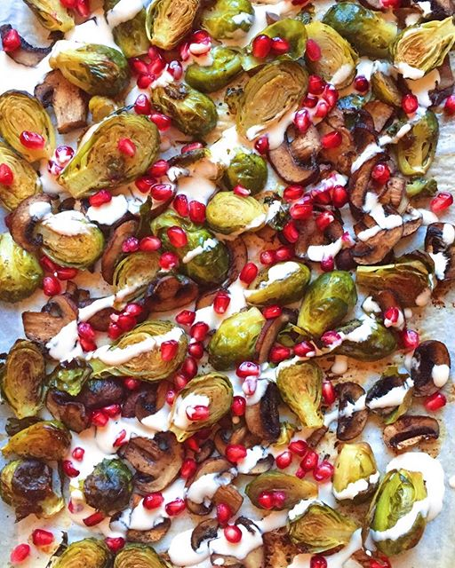 My favorite way to eat brussels is to roast them along with mushrooms in avocado oil & flaked sea…