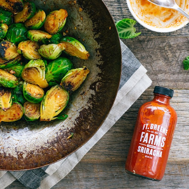 Spicy Honey Sriracha Glazed Brussels Sprouts