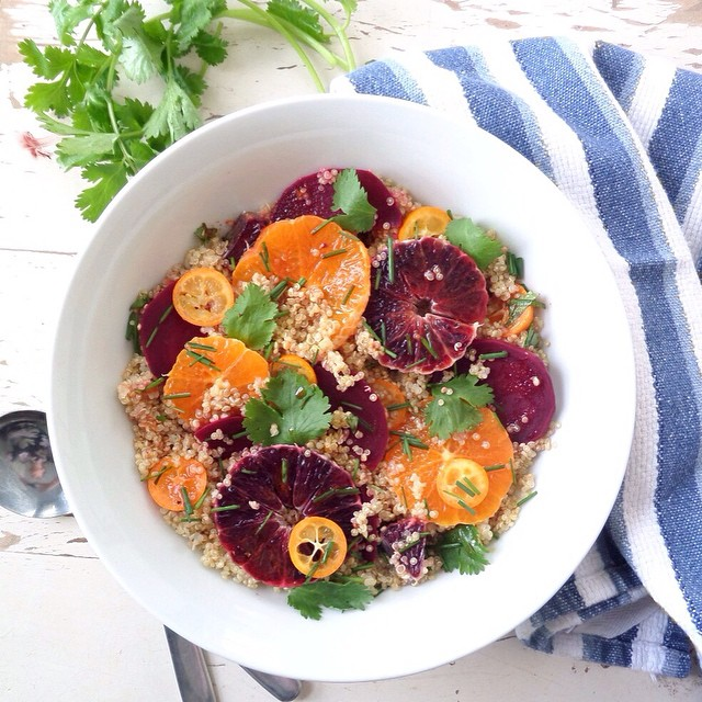 Quinoa Salad with Blood Orange, Clementine, Beet and Kumquat. Not only does it look electrifying…