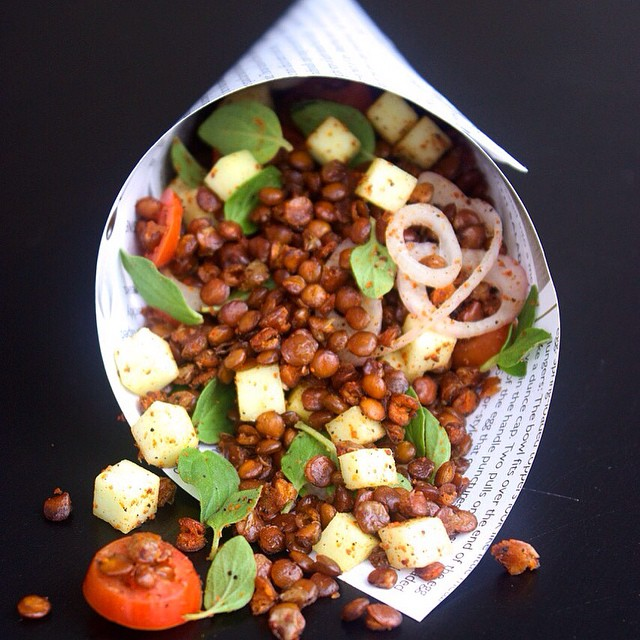 Roasted Lentils With Green Mango Salsa