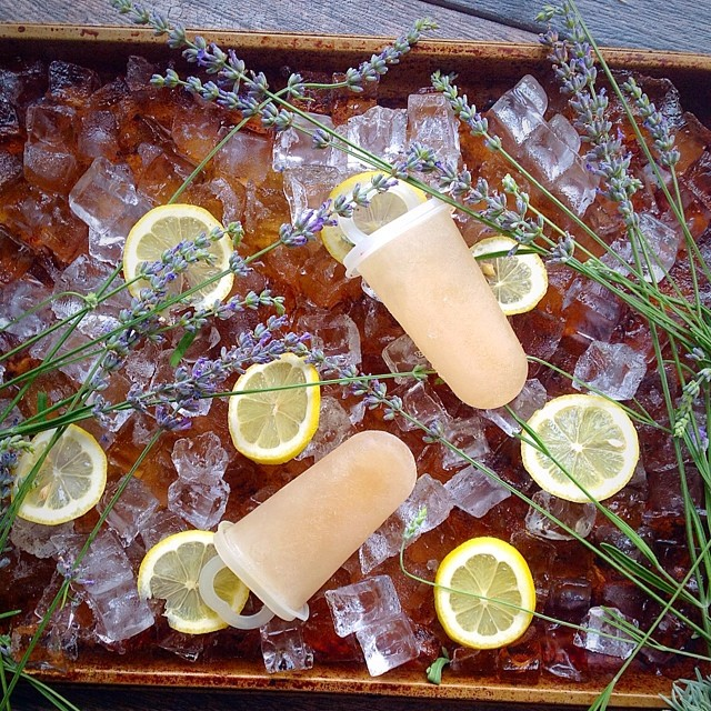 Lavendar Lemonade Popsicles  Made with all local ingredients, right down to the honey I used instead…