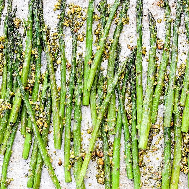 Roasted Asparagus With Pistachio Mint Pesto