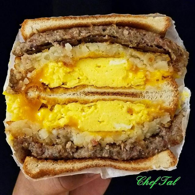 Fried Amish Scrapple And Cheddar Cheese Egg Sandwich