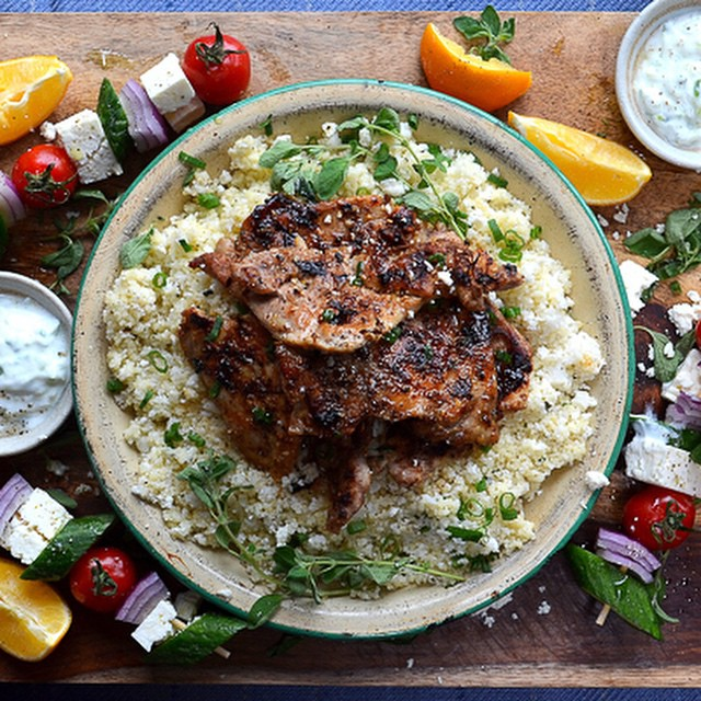 Sticky Greek Chicken On Herb Cauliflower Couscous