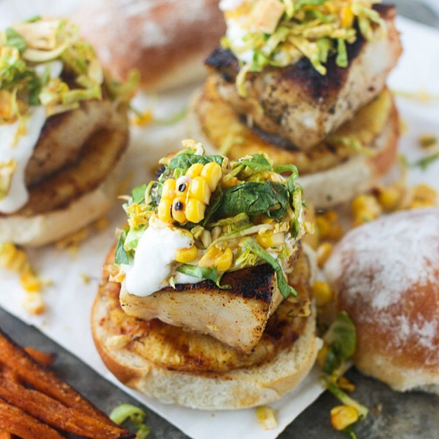 Sweet & Spicy Mahi Mahi Sliders With Brussels Sprout Corn Slaw