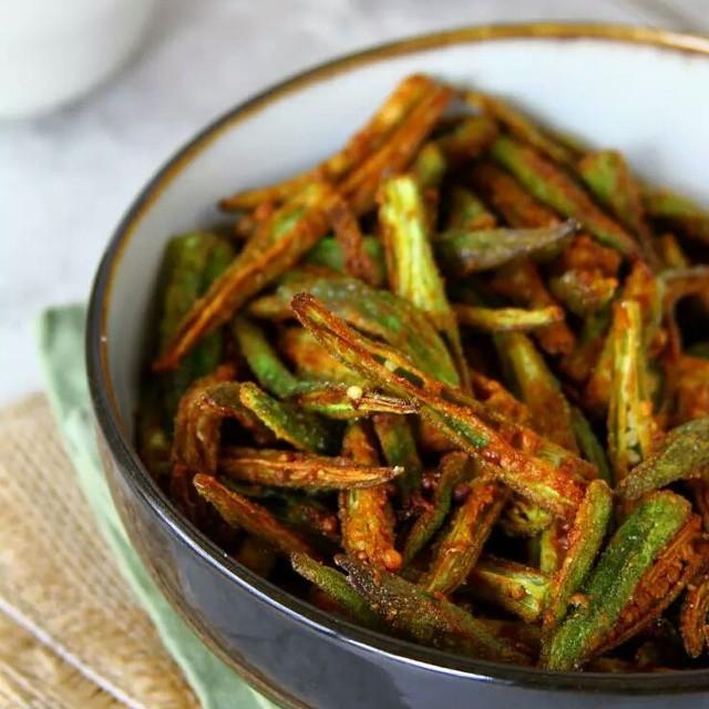 Kurkuri Masala Bindi Or Indian Style Crispy Okra Fry