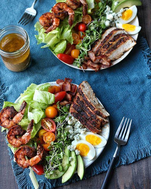Blackened Shrimp And Chicken Cobb Salad With Dijon Vinaigrette