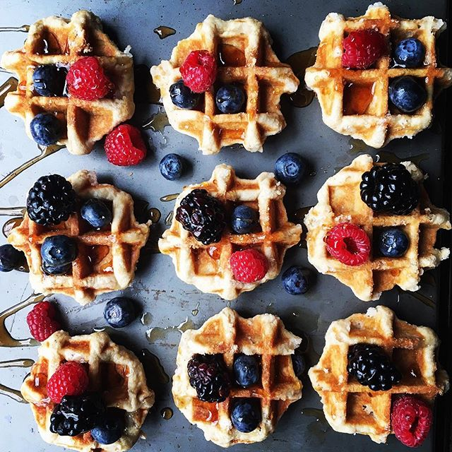 Mini Belgian whole wheat waffles with maple syrup and fruit. ?Winner of the Healthy Homemade Meals…