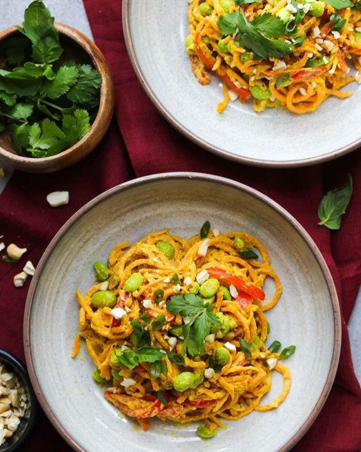 Sweet Potato Noodle Bowls With Curried Cashew Cream Sauce