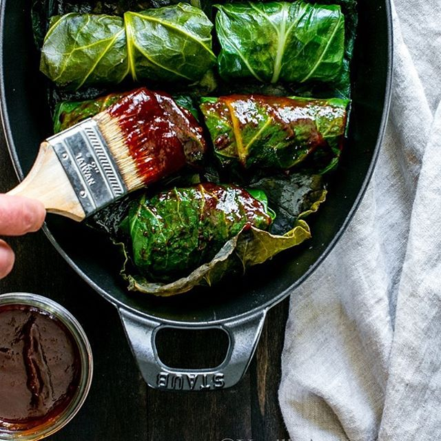 Collard Rolls With Black Eyed Peas And Smoky Bbq Sauce