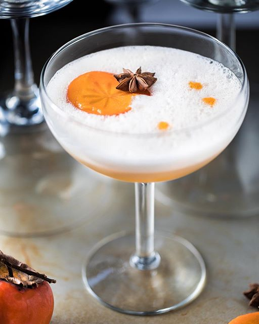 This Persimmon Ginger Gin Fizz cocktail; I'm basically obsessed with it.