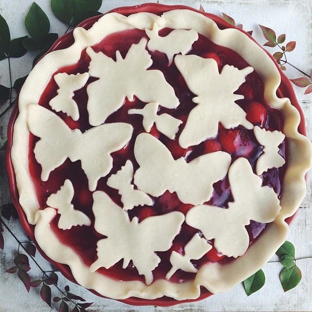 Cherry pie (before) inspired by everyone on @thefeedfeed 's pie feed, especially @thecookerywife And…