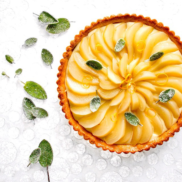 Sage Custard & Pear Tart With Caramelized Sage