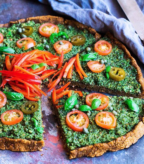 Pesto Pizza With Lentil Crust