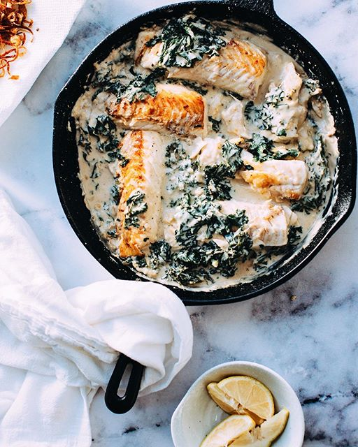 Pan Fried Fish And Kale In Garlicky Tahini Sauce