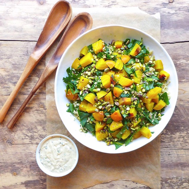 Golden Beet Quinoa Salad With Pistachios And Tahini Mint Dressing