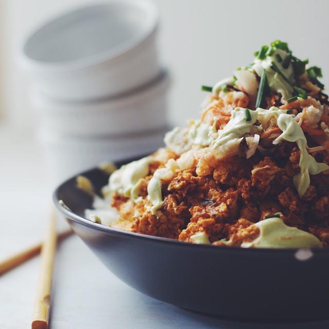 Korean Barbecue Tofu And Sticky Rice With Garlic Avocado Aioli