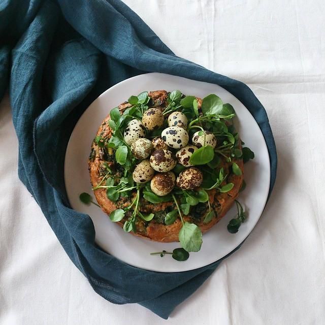 Nettle, Spinach, Wild Garlic & Porcini Savoury Cake