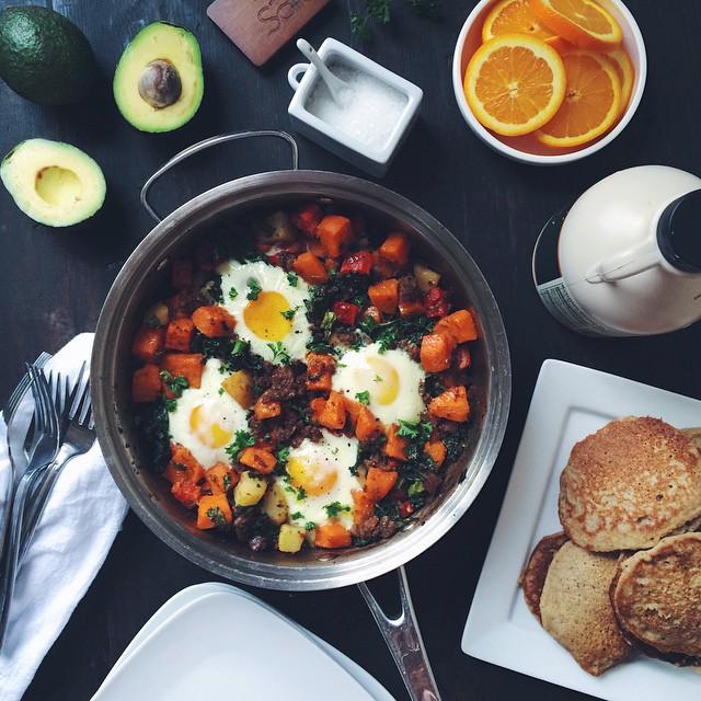 Paleo Skillet Breakfast with Gf, Df Banana Pancakes