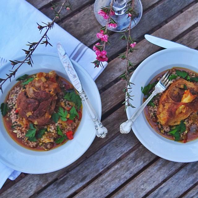 Braised Lamb Shank With Turmeric, Paprika, Saffron & Israeli Couscous