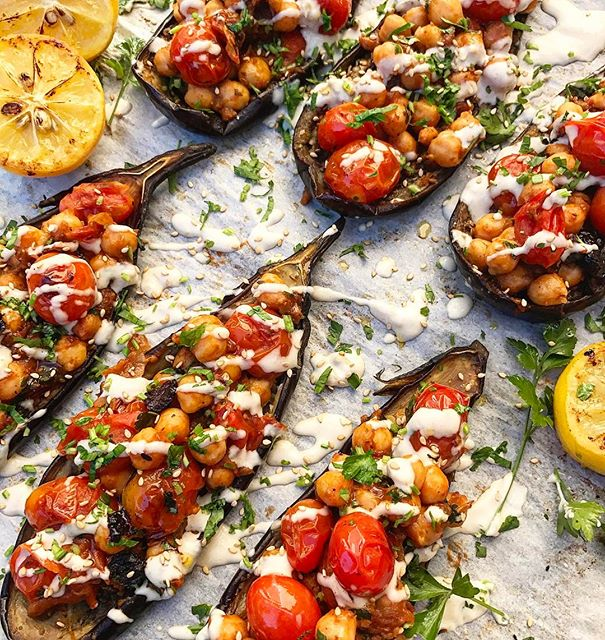 Roasted Eggplant Boats With Spiced Chickpeas