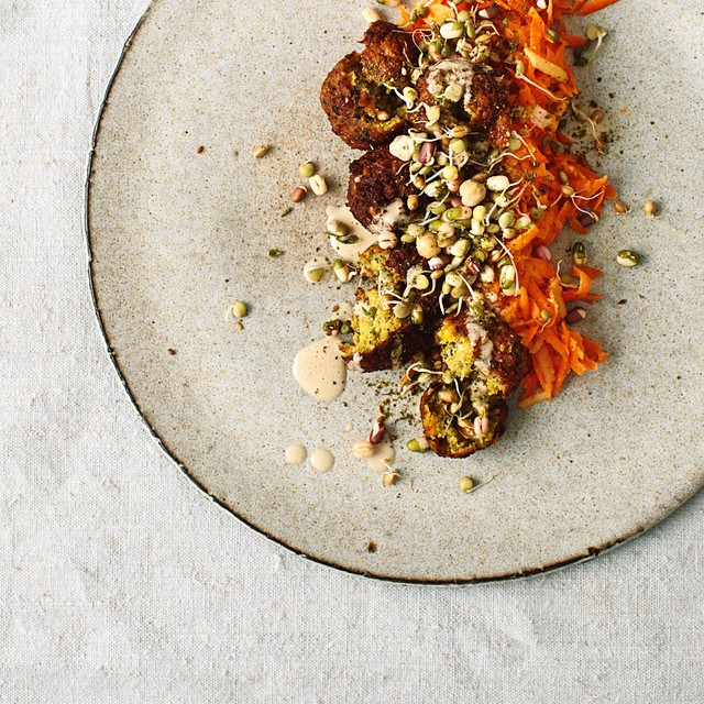 Carrot Apple Salad With Falafel, Cashew-tahini Dressing, Sprouts And Za'atar