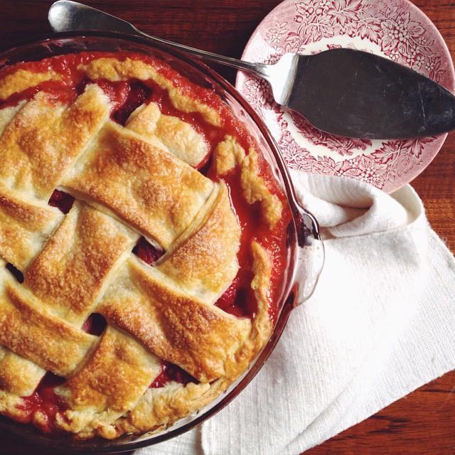 Rhubarb, Raspberry And Strawberry Pie