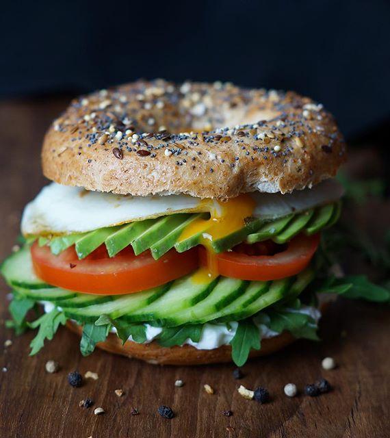 Breakfast Egg, Avocado, Tomato, Cucumber Bagel Sandwich