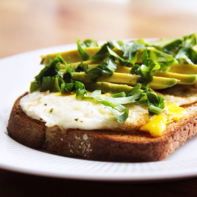 Egg Over Easy, Avocado, And Fresh Parsley