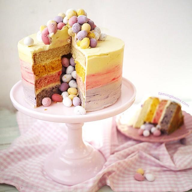 Easter Mini Egg Ombré Piñata Layer Cake