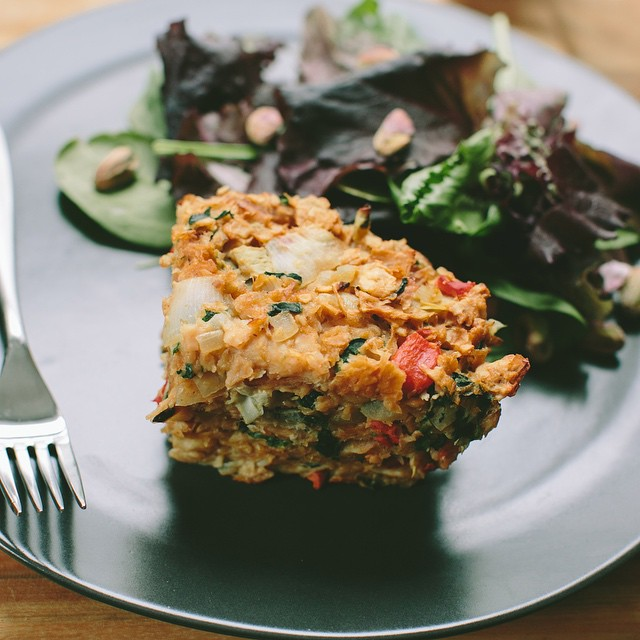 Spinach, Artichoke And Roasted Red Pepper Matzo Kugel